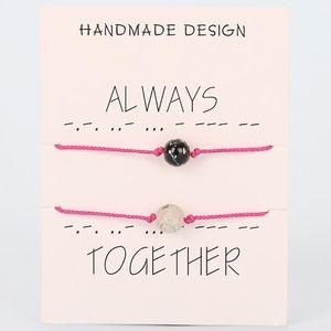 Jewelry - 8MM Lava Stone Couple Pink Bracelet Set & Card